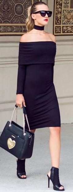 #fall #style #looks Off The Shoulder Midi Black Dress