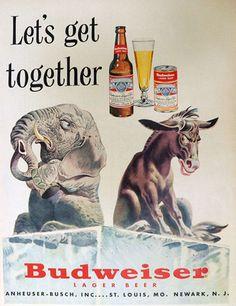 1952 Budweiser Beer Ad ~ Political Elephant & Donkey