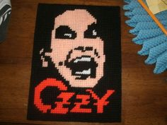 Ozzy Osbourne Completed Plastic Canvas Project