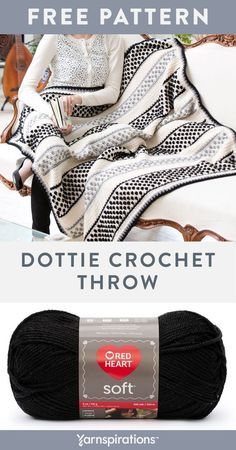 Free Dottie Throw crochet pattern using Red Heart Soft yarn. Ideal for contemporary and more traditional décors, this ea Crochet Throw Pattern, Dishcloth Knitting Patterns, Knit Dishcloth, Afghan Crochet Patterns, Crochet Afghans, Crochet Home, Knit Or Crochet, Crochet Baby, Crochet Things