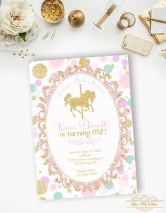 Instant Download Editable Carousel Birthday Invitation Carousel
