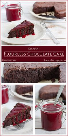 This Decadent Flourless Chocolate Cake was our first try at flourless cake. It came out so well that we had to share it. The flavors are rich and deep and the  texture is perfect. If you try one flourless cake in your lifetime, this should be the one! | SimpleFood365.com