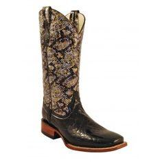 Ferrini Ladies Black Print Classic Gator Boots S-Toe 92993-04