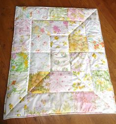 Vintage Sheet Lap Quilt by sewtobed, via Flickr