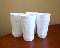 INDIANA COLONY HARVEST TUMBLERS MILK GLASS SET OF 4 | eBay.  I paid $5 for 4.