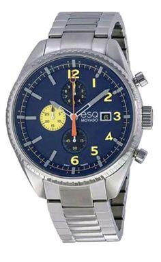 ESQ MOVADO Catalyst Chronograph Blue Dial Stainless Steel Bracelet Men's Watch #ESQMovado #Sport