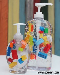 Lego Soap and Hand Sanitizer Tutorial - Rockin Boys Club: Just make sure that the Lego/soap ratio is good for the size of container you have. The bigger the container the more Legos you want since they tend to want to float towards the top of the dispenser.