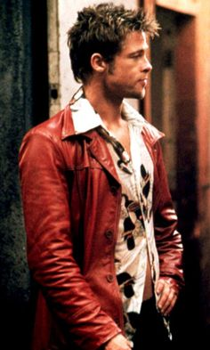 brad pitt fight club, I think this is where my obsession with red and orange leather jackets has stemmed from
