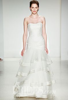 Brides.com: . Wedding dress by Anne Barge There is something very beautiful about placement stripes- Great for the right bride