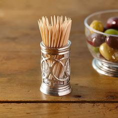 Cosi Tabellini Napoli Cocktail Stick & Toothpick Holder - Pewter & Glass