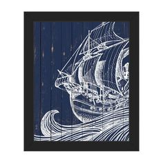 "Click Wall Art Rustic Waves and Boat Framed Graphic Art on Canvas Frame Color: Black, Size: 10"" H x 8"" W x 1"" D"