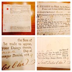 In my collection . This is an Authentic 1774 Summons / Letter issued by GEORGE THE THIRD - KING OF ENGLAND. 1774 . Requesting a TAX payment from a Boston area Colonist . The Revolutionay War was soon to follow in 1775 / 1776 .  Pawn Stars American Pickers History Historical Document  Massachusetts  Boston Strong