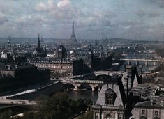 Vivid color photos of 1923 Paris, hub of artistry and progress. Paris as seen from the church of Saint Gervais.