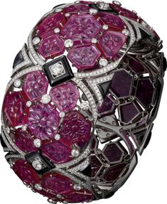 Bracelet Haute Joaillerie in platinum with rubies, onyx and diamond by CARTIER