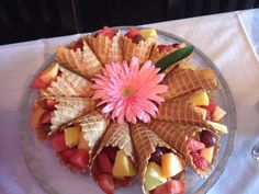Fruit Salad in Waffle Cones for a Brunch or Ladies Party
