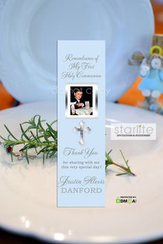 A beautiful First Communion Bookmark Favor in Blue with simulated Silver Cross. A practical and economical favor. http://starliteprintables.indiemade.com/product/boy-first-communion-bookmark-favors-blue-silver-cross-printable-or-premium-printed