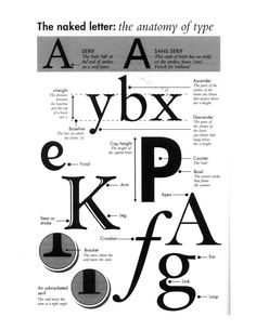Intro to Typography, Cat Normoyle's T/H 2:30 class: Anatomy of Type