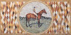 "22"" x 44 1/2"" Polo Player riding horse | New Ravenna Mosaics"