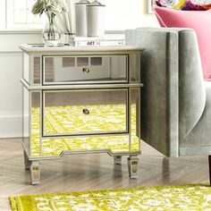 Willa Arlo Interiors Aedesia 2 Drawer Nightstand & Reviews   Wayfair Mirrored Nightstand, 2 Drawer Nightstand, Nightstands, Mirrored Furniture, Dresser, Metal Table Lamps, Table Lamp Sets, Modern Farmhouse Living Room Decor, Home Living Room