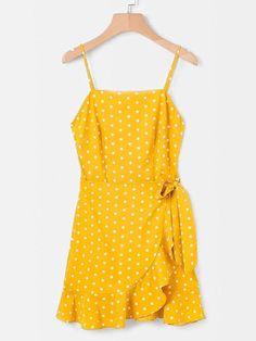 Ruffle Trim Spot Cami Dress -SheIn(Sheinside) #fashionista#fashiontrends