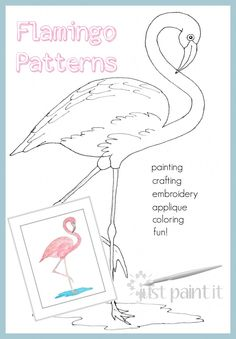 Flamingo Patterns - for painting, crafting, embroidery, appliques, scrapbooking, coloring, and FUN!