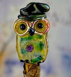 Morticia.......lampwork wizardry owl bead......... sra #DeniseAnnette #Lampwork