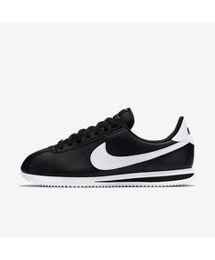 93c182de34b Nike Cortez Basic Leather Black Metallic Silver White 819719-012 Mens Nike  Air