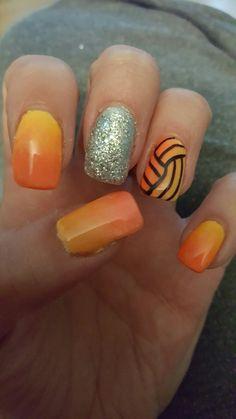 Yellow and orange ombre silver glitter