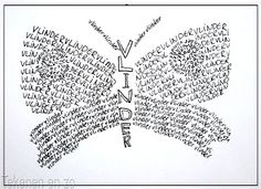 Our Dutch calligrams; You need: drawing sheet size (postcard size) pencil fine black marker A calligram i. School Art Projects, Art School, School Ideas, School Stuff, Artists For Kids, Art For Kids, Writing Lines, 6th Grade Art, Grade 3