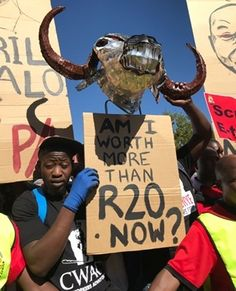 Workers gathered protesting for a higher minimum wage in Johannesburg. Levels Of Government, Minimum Wage, Amanda