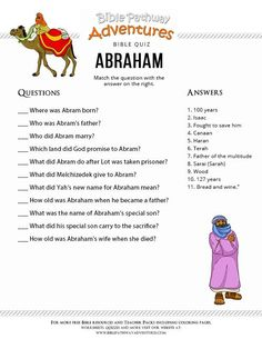 Abraham Verses For Kids, Bible Stories For Kids, Bible Study For Kids, Kids Bible, Abraham Bible, Bible Quiz, Bible Trivia, Bible School Crafts, Bible Activities