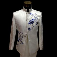 Porcelain embroidered chinese tunic suit formal dress latest coat pant designs suit men chinese style marriage suits for men's Vintage Wedding Suits, Modern Vintage Weddings, Wedding Dress Men, Wedding Dresses With Flowers, Wedding Attire, Marriage Suit For Man, Marriage Suits, Suits For Guys, Prom Suits For Men