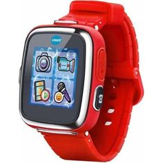 Kidizoom Smartwatch DX, Red. Age Range: 4 to 9 years Video camera with photo effects Voice recorder with voice-changing effects Touch screen 3 fun activities, 5 games, 3 action challenges and a motion sensor Splash-proof for everyday play (splash- and sweat-proof, do not submerge and not suitable for showering or bathing) Digital and analog watch displays with over 50 clock face designs Rechargeable.