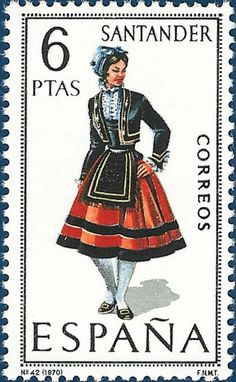 After the Basque costume stamps of Spain , we move even further northwest to La Rioja , Cantabria and Asturias . The typical costumes from...