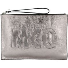 McQ Alexander McQueen Oversized McQ logo clutch (6 680 UAH) ❤ liked on Polyvore featuring bags, handbags, clutches, metallic, leather purses, oversized clutches, leather clutches, leather handbags and metallic purse
