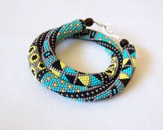 Bead crochet necklace with geometric pattern Beaded by lutita