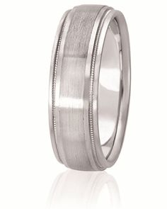 Dual Finish Center Wedding Band With Milgrain