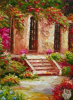 Ancient Steps And Floral Garden Of Italian Villa