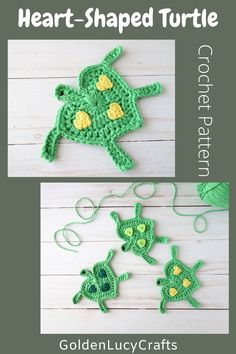 This cute crochet Turtle applique pattern is another design made in the shape of a heart. Free crochet pattern, crochet motif, embellishment, ocean theme Crochet Fish, Crochet Turtle, Crochet Mermaid, Cute Crochet, Crochet Motif, Crochet For Kids, Beautiful Crochet, Crochet Designs, Knitting Designs