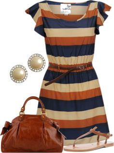 """""""Navy, Tan & Orange"""" by stay-at-home-mom ❤ love the colors! Cute Dresses, Casual Dresses, Casual Outfits, Cute Outfits, Trendy Dresses, Dress Outfits, Look Fashion, Fashion Outfits, Womens Fashion"""
