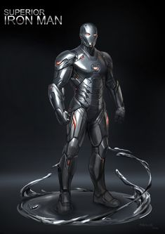Fun art of ironman Since he is the villain in the book, I tried to change the light to red. Add a little liquid metal underneath to show the symbiont suit. Iron Man Avengers, Marvel Avengers, Marvel Art, Marvel Comics, Armor Concept, Concept Art, Avengers Earth's Mightiest Heroes, Superior Iron Man, Viking Armor