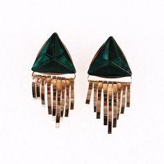 4.5x2cm Stylish Green Crystal Alloy Ear Stud Triangle Shape Women Ladies Jewelry Earrings