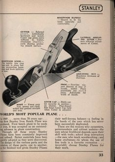 Stanley tools, catalog no. Woodworking And Blacksmithing, Woodworking Hand Planes, Antique Woodworking Tools, Antique Tools, Old Tools, Vintage Tools, Woodworking Tips, Carpentry Hand Tools, Timber Framing Tools