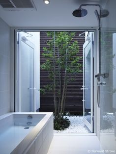 IS / Yo Yamagata Architects al patio interior! Patio Interior, Bathroom Interior Design, Interior And Exterior, Beautiful Bathrooms, Modern Bathroom, Small Bathroom, Bathroom Ideas, Rustic Bathrooms, Bathroom Designs