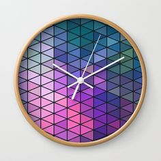 Purple Geometric Pattern Wall Clock by Samantha Lynn. Worldwide shipping available at Society6.com. Just one of millions of high quality products available.