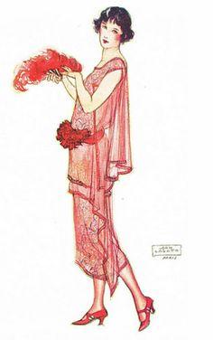 Fashion illustration by John Lagatta 20s Fashion, Fashion History, Art Deco Fashion, Fashion Prints, Fashion Models, Vintage Fashion, Fashion Design, Dress Fashion, Moda Vintage