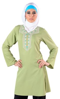 This light green creation with a unique laced design pattern from East Essence is a modest garment which you can flaunt at occasions both light and casual. This comfortable yet elegant kurti has a beautiful design pattern at the front of the garment. Fabric: 100% poly crepe.