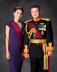 Queen Rania of Jordan. Nothing more regal than purple with an understated tiara.
