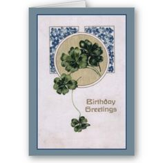 """Vintage Birthday Card  Unusually coloured birthday card in an art nouveau style. A string of clover with blue tiny flowers. The front of the card reads """" Birthday Greetings"""". The inside is blank waiting for your inspiration."""