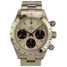 Rolex Stainless Steel Cosmograph Daytona Wristwatch Ref 6265 circa 1987 | From a unique collection of vintage wrist watches at https://www.1stdibs.com/jewelry/watches/wrist-watches/